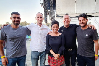 A little bit of daylight: Jamil Mirzaee, Moz Azimitabar, Jane and Jimmy Barnes, and Farhad Bandesh at Rochford Winery. The men attended the show at the personal invitation of the Barnes family.