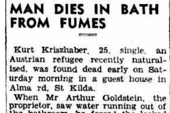 An article on Kurt Kriszhaber's death in The Argus on September 9, 1946.