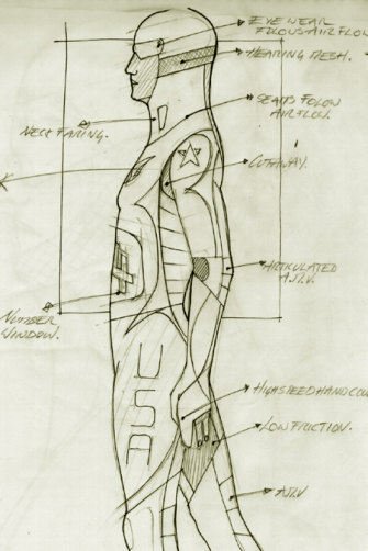 An early sketch of the Freeman suit.