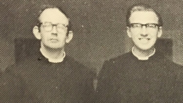 Brother Donald Paschal Alford, right (with Brother William Houston, later  convicted of child sex abuse) at St Augustine's boys' orphanage in Geelong in the 1970s.