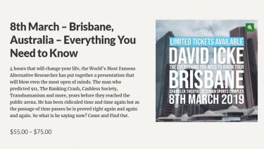 Tickets were still being sold to David Icke's Brisbane show on March 8, despite his visa being cancelled by the Australian government.