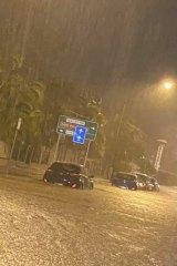 Flash flooding on Townsville's Bundock Street on Monday night.