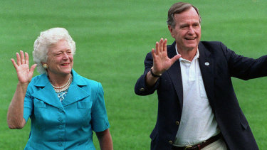 Former president George H.W. Bush and first lady Barbara Bush pictured in 1992.