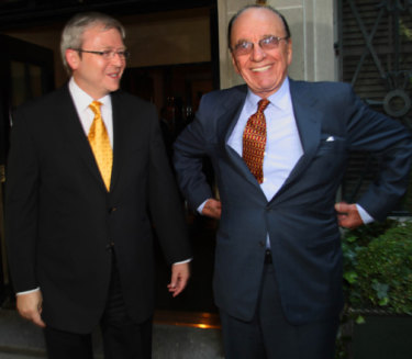 In happier times: Kevin Rudd meeting with media magnate Rupert Murdoch in New York in 2008.