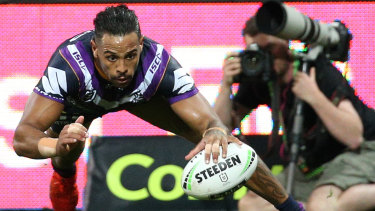 Josh Addo-Carr scores a try for Melbourne Storm.