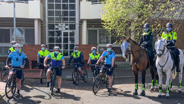 Mounted Victoria Police officers and those from Bike Patrol in Collingwood this week.