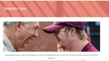 An image from the website of United Mission, one of the registered NDIS providers linked to the fraud.