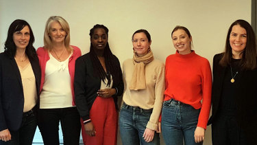 Australian Sarah McGrath, right, and team at Women for Women in France.