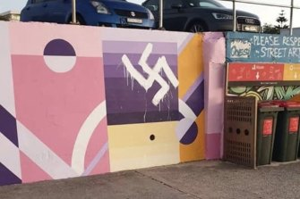 A swastika was painted over a mural along Bondi Beach's promenade in 2019.