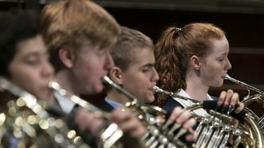 St Andrew's Cathedral School French horn player Natalie Newman (far right).