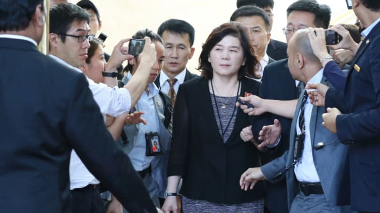 North Korean vice minister of foreign affairs Choi Sun-hee leaves the Ritz Carlton Hotel in Singapore after a two-hour meeting with her American counterpart.
