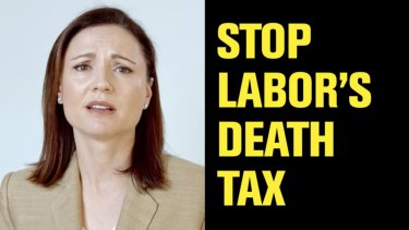 Clive Palmer's United Australia Party ad falsely claimed Labor would introduce a death tax in the recent state election. This ad features his wife, UAP deputy leader Anna Palmer.