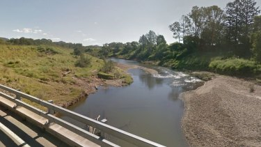 The Mary River as seen from the Traveston Crossing Road Bridge, near where the group were camped. Property owners in the area have been urged to watch out for the man.