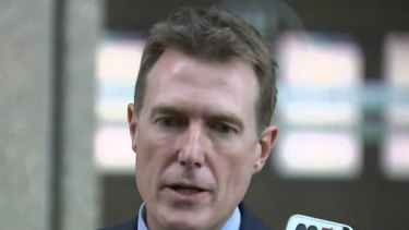 Mr Porter outside the Federal Court in Sydney on Monday.