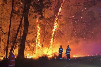 Firefighters battle the Currowan bushfire burning at emergency level north of Batemans Bay.