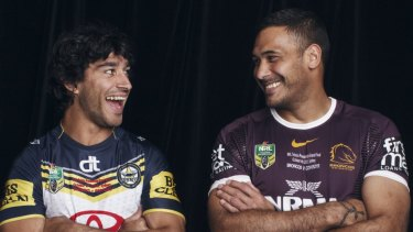 Johnathan Thurston (left) and Justin Hodges, captains of the Cowboys and Broncos respectively in the 2015 NRL grand final.