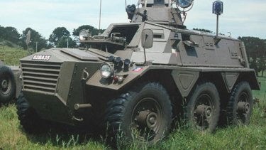 An armoured personnel carrier that was offered for sale in Australia. It is not clear if the model found on Mr White's property is the same model.
