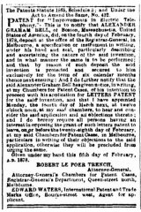 """Patent for """"Improvements in electric telephony"""" from the Age, February 9, 1878"""