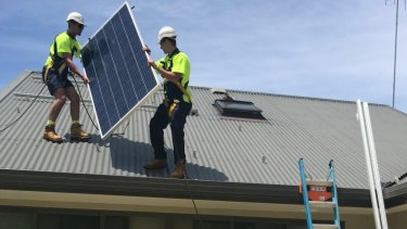 Solar panel installation on Michael Peters' house in Balgowlah Heights.