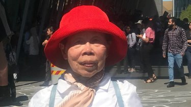 Protester Audrey Cooke, 73, said police were to blame for violence during the protest outside the International Mining and Resources Conference and Expo in Melbourne on Tuesday.