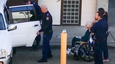 Ivan Milat leaving Prince of Wales Hospital for Long Bay jail in May. Credit Nine News