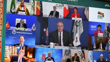 Prime Minister Scott Morrison and world leaders during the virtual G20 summit.