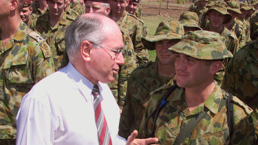 Then prime minister John Howard farewells Australian soldiers heading to East Timor in September 1999.