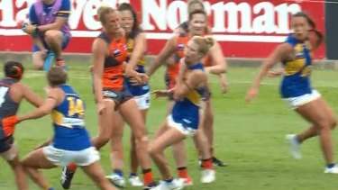 West Coast Eagles AFLW star Dana Hooker cops a nasty boot to the throat against GWS.