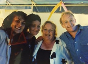 Daniel Harvey, right, in happier times with his sisters Alana and Rae, and mother Pamela.