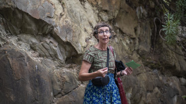 Historian Robyn Annear at Castlemaine's anticlinal fold.