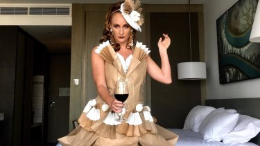 Ashleigh Perrie in her Origami Diva 'off to the races' creation.