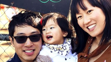 Matthew Si, with daughter Arya and wife Melinda Tan.