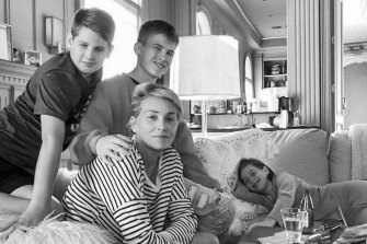 Hanging out with her three sons  in their Beverly Hills home.