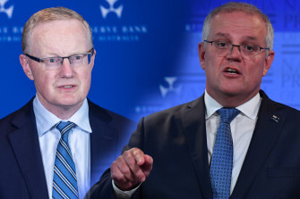 RBA governor Philip Lowe, left, and PM Scott Morrison. There is now a tension between the policy objective of the Morrison government and the policy commitments of the RBA.