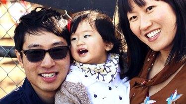Matthew Si, with daughter Aria and wife Melinda Tan.
