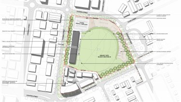 The master plan for the Canberra raiders new training facility, as well as apartments and commercial space, in Braddon.