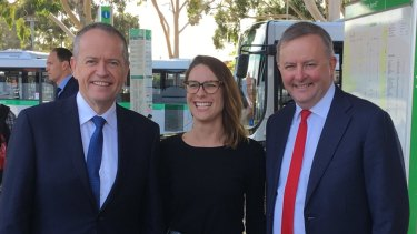 Former Hasluck Labor candidate Lauren Palmer with Opposition Leader Bill Shorten and Shadow Transport and Infrastructure Minister Anthony Albanese.