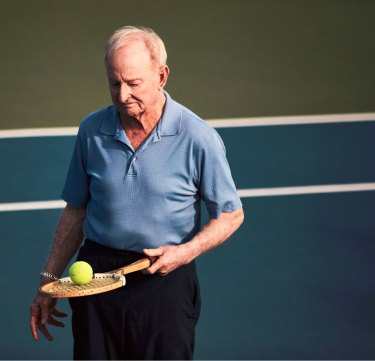 Laver today. Arthritis in his left wrist prevents him from playing tennis.