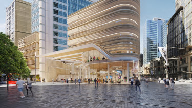 Renders of the retail podium and street level entrance of 388 George Street, Sydney.