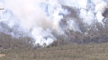 The bushfire is burning at Lefthand Branch near Toowoomba.