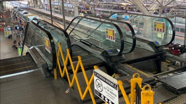 The broken escalators at Southern Cross Station.
