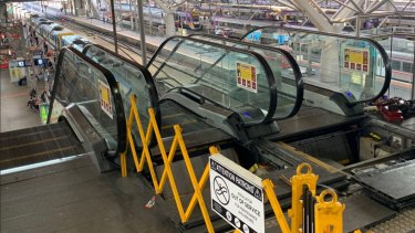 The broken escalator at Southern Cross Station