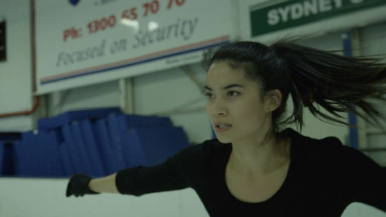 Canva co-founder Melanie Perkins is pictured ice skating in The New Hustle documentary.