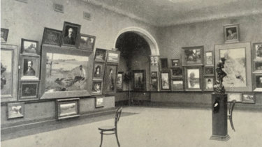 An early photo of the Victorian Artists Society gallery