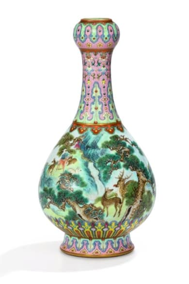 Imperial 'Yangcai Crane and Deer Ruyi Vase'