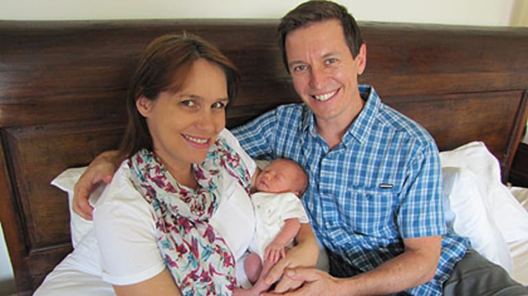 Tasma Walton, her husband Rove McManus and their daughter Ruby.