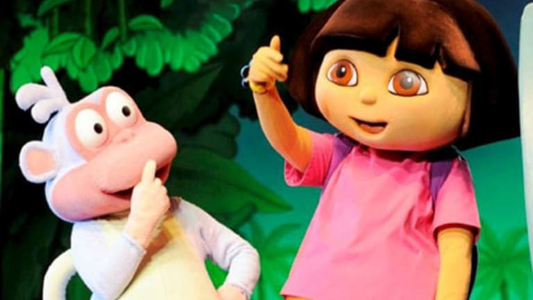 Dora the Explorer gives Queensland the thumbs up as she puts the sunshine state on her map.