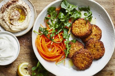 ***EMBARGOED FOR GOOD FOOD MAGAZINE, FEBRUARY 7/20 ISSUE*** Donna Hay recipe for cauliflower and kimchi falafels. Photo by Con Poulos