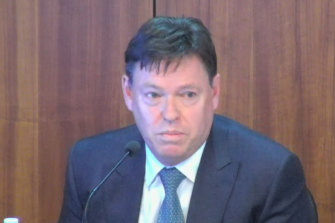Crown Resorts CEO Steve McCann giving evidence to Victoria's royal commission into the casino giant on July 6, 2021.