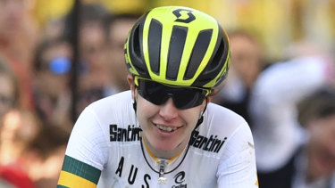 Amanda Spratt finishes second at the Road Cycling World Championships in Austria in September.